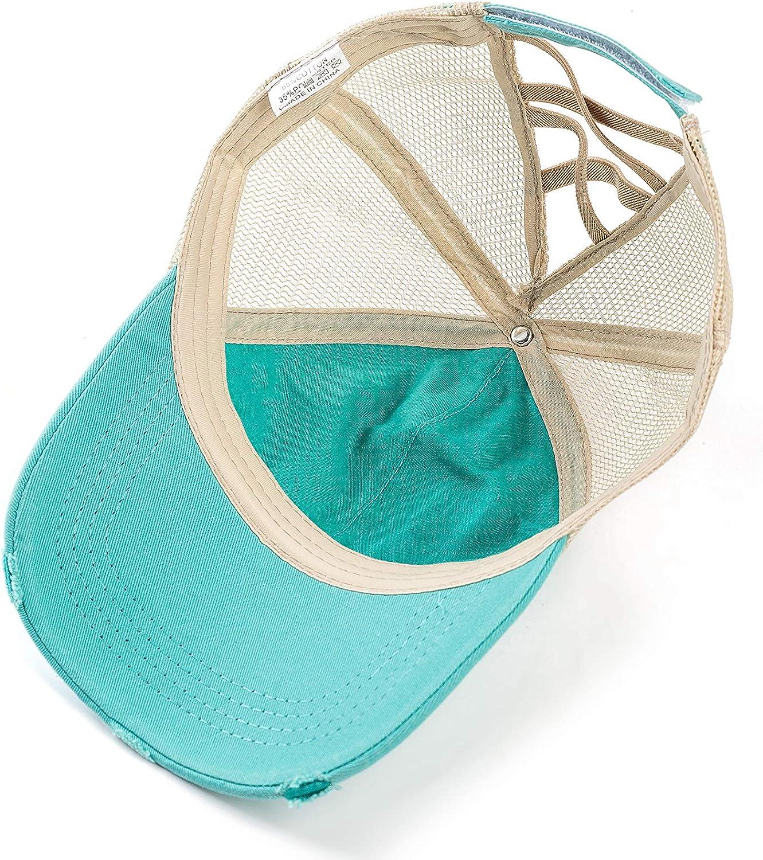 YIBOBA Ponytail Baseball Cap Retro, Messy Visor Dad Hat Ponycaps Adjustable Cotton and Twill Mesh Trucker Caps (Criss Cross-Turquoise)