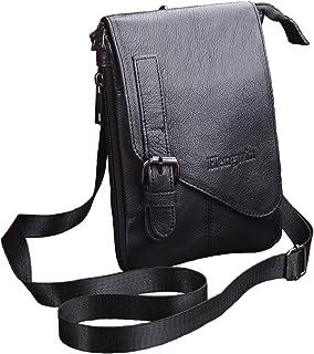 Hengying Leather Small Herrentasche Messenger Bag Schou Dertas Met Veel Ritssluiting Vakken/Clip black