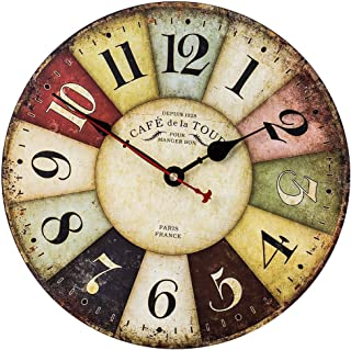 Home Decor Clock, Colorful Retro Arabic Numerals Style,Silent Non -Ticking Quartz Wooden Wall Clock, Large Wall Art Decorative for Kitchen,Living Room,Kids Room and Coffee Decor (14 Inch, Paris)
