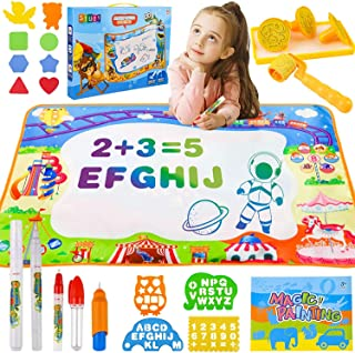 HA NI Mumoo Bear Water Doodle Mat - Drawing Painting Mat Large Size 100x70cm with 5 Pens, Moulds,Stamps, Mess-Free Learnin...