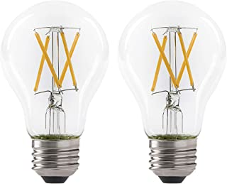 LED 7W A19 Filament Clear Light Bulb, 60W Equivalent, 800 Lumens, 2700K Soft White, Dimmable, E26 Medium Base, Energy Star Certified, 120V (2 Pack)