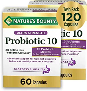 Ultra Probiotic 10 by Nature's Bounty. 10 Probiotic strains & 20 Billion Live Cultures to Support Immune Health + Digestive and intestinal Health. 60 Capsules, 2 Pack