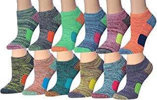 Tipi Toe Women's 12-Pairs Space Dye Athletic Performance Socks, Fits shoe size 6-10, SP33-12