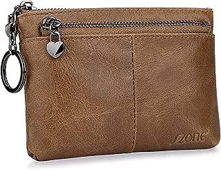 Women Genuine Leather Triple Zipper Small Wallet Change Coin Purse Holder