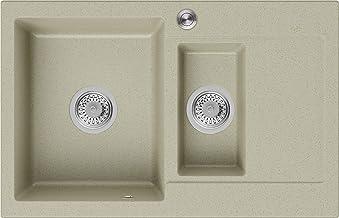 Granieten Gootsteen Beige + Pop-Up Sifon, Voor Keukenkasten vanaf 60 cm, Grootte 78 x 50 cm, Gootsteen Sevilla van Primagran