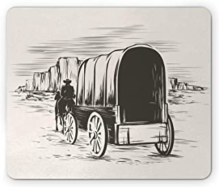 Western Mouse Pad, Old Traditional Wagon Wild West Prairies Pioneer on Horse Transportation Cart, Standard Size Rectangle Non-Slip Rubber Mousepad, Black and White