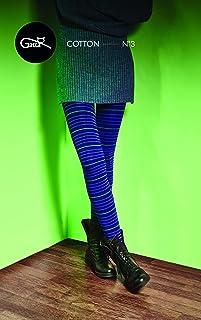 Gatta blaue Strickstrumpfhose aus Baumwolle mit Muster G88716-03 - hoher Baumwollanteil - gemustete Baumwollstrumpfhose gestreift bunt - Designed & Made in EU