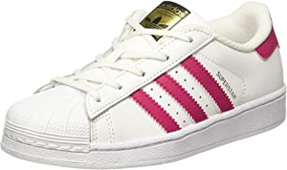 Superstar C White/Bold Pink Leather Junior Trainers Shoes