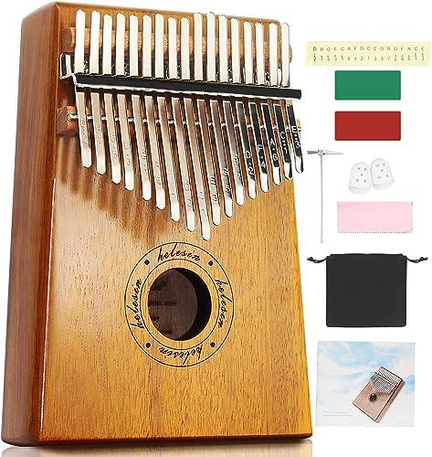 Kalimba 17 Teclas Thumb Piano Madera Maciza Finger Piano Portátil Música Instrumento Marimba con Caja Protección EVA ...