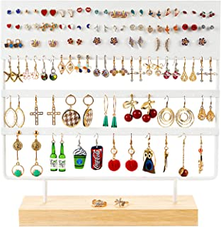 QILICHZ Earring Holder Ear Stud Holder Earring Display Stand Decorative Jewelry Holder Display Stand Display Rack with Wooden Tray/Dish for Earrings Display Home Use