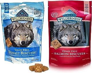 Blue Buffalo Wilderness Dog Treat Variety Pack - 2 Flavors Denali Blend 8-Ounces & Salmon Recipe 10-Ounces (2 Total Pouches)