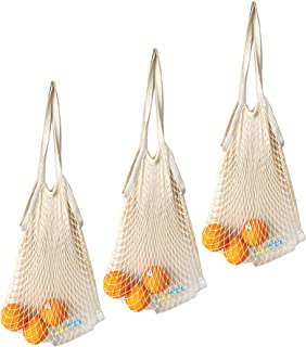 SURDOCA Reusable Produce Cotton Mesh Bag - Natural Cotton Net String Shopping Tote Bag (3, Long Handle)