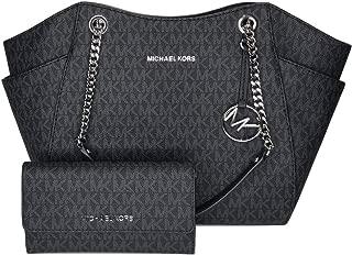 MICHAEL Michael Kors Jet Set Travel MD Carryall Tote bundled with Michael Kors Jet Set Travel Large Trifold Wallet