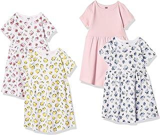 Luvable Friends baby-girls Cotton Dress, 4 Pack Playwear Dress