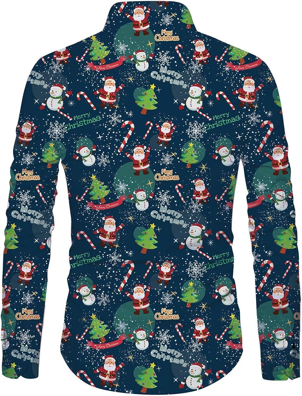 Idgreatim Uomo Camicia Stampato Natale Maniche Lungo Button Down Vacanza Hawaiana Camicie