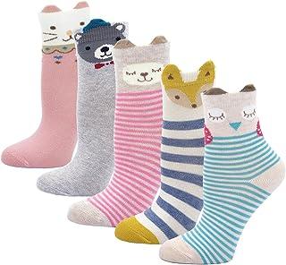 Calcetines de Algodón Niñas Navidad Calcetines Animales, Niña Calcetines de Invierno Lindo Calcetines de Divertidos Ocasionales, 2-11 años, 5 pares