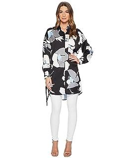 Paulette Length 3/4 Sleeve Button Up w/ Grommet Details Tunic