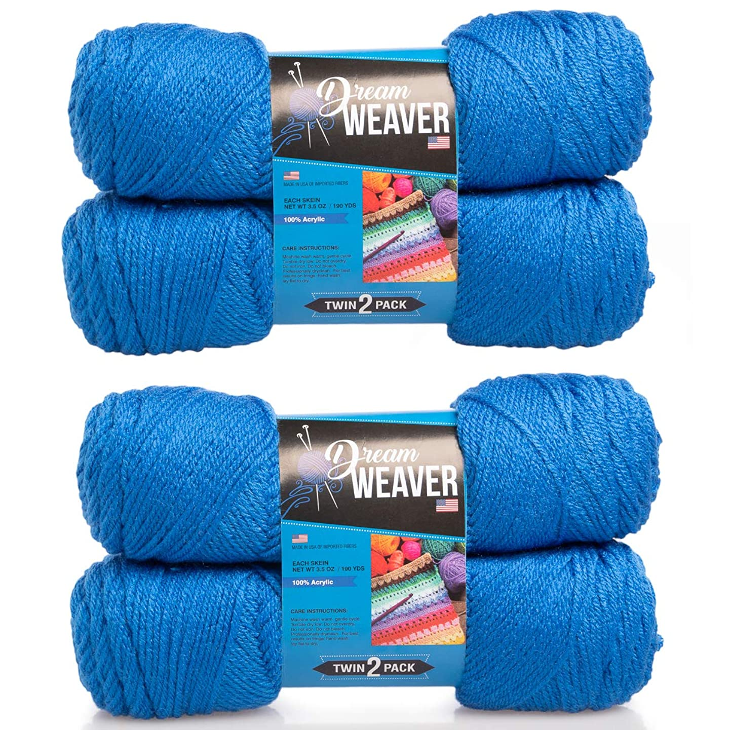 Dream Weaver 4 Pack Solid Color 100% Acrylic Soft Royal Blue Yarn for Knitting Crocheting Medium Worsted #4