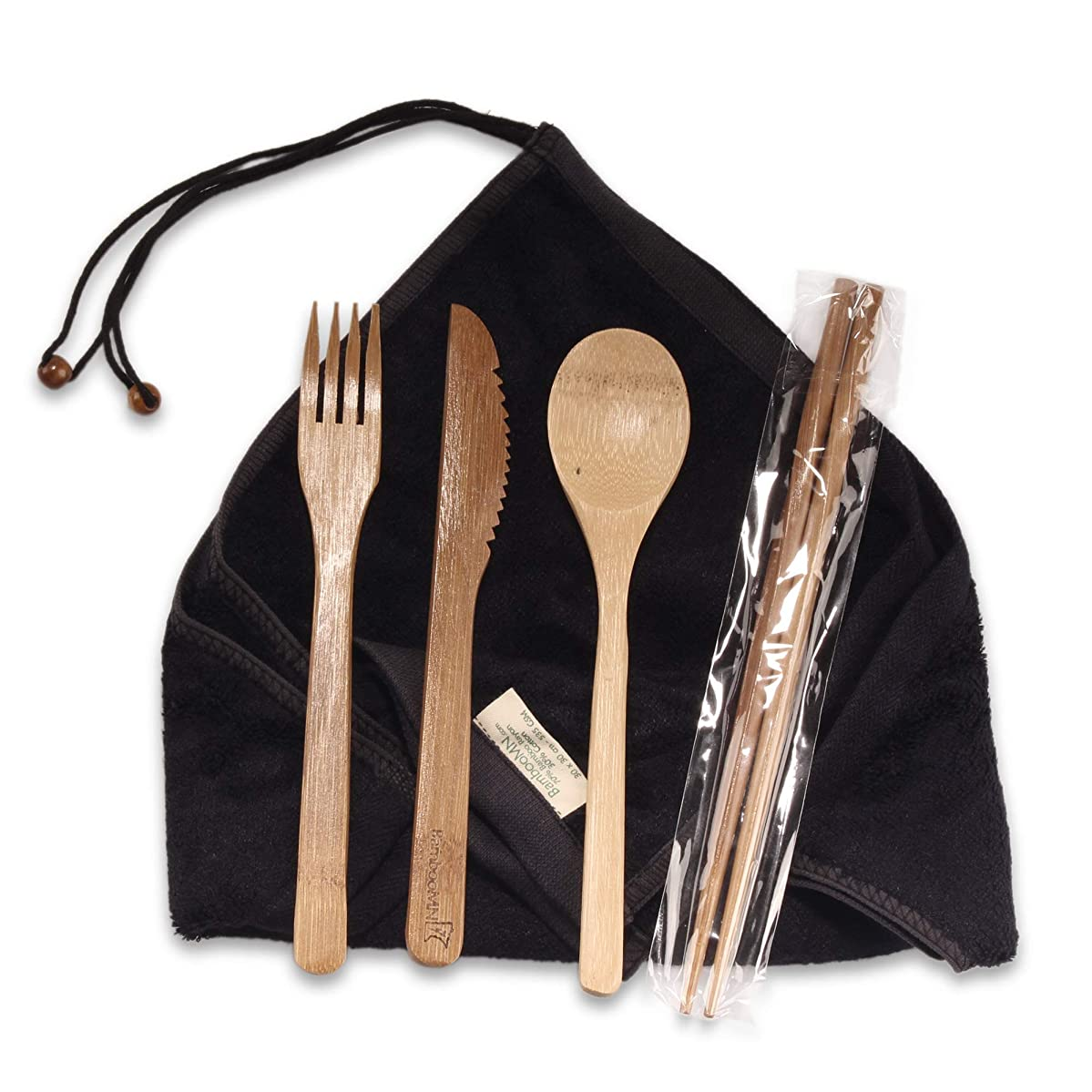 BambooMN Travel Utensils with 2 Rayon from Bamboo Washcloth Wraps - 1 Set, Black