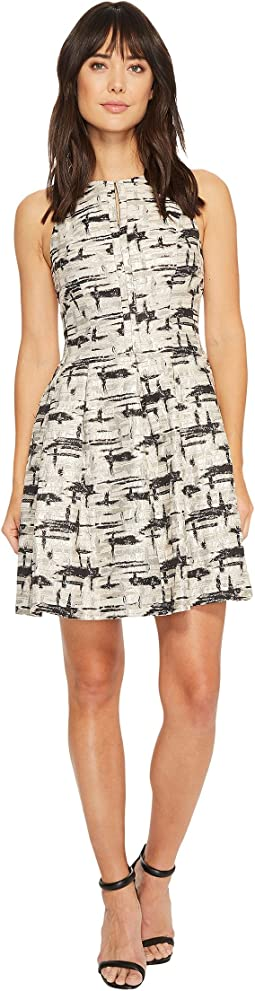Vince Camuto - Jacquard Sleeveless Fit and Flare Dress