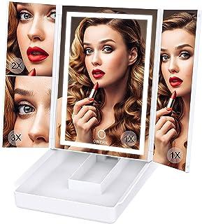OMERIL Miroir Maquillage 74 LED avec Boîte de Rangement, Miroir Lumineux avec 3 Couleurs de Lumières Miroir Grossissant 2...