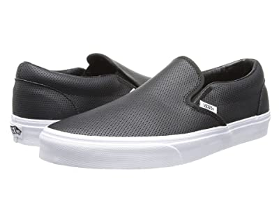 Vans Classic Slip-Ontm Core Classics ((Perf Leather) Black) Shoes