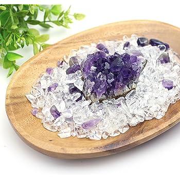 【Nature】 アメジスト浄化セット(水晶+アメジストさざれチップ+ウルグアイ産アメジストクラスター+ウッドトレイ)