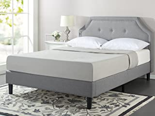 Zinus Lyon Upholstered Button Tufted Platform Bed / Mattress Foundation / Easy Assembly / Strong Wood Slat Support, Queen