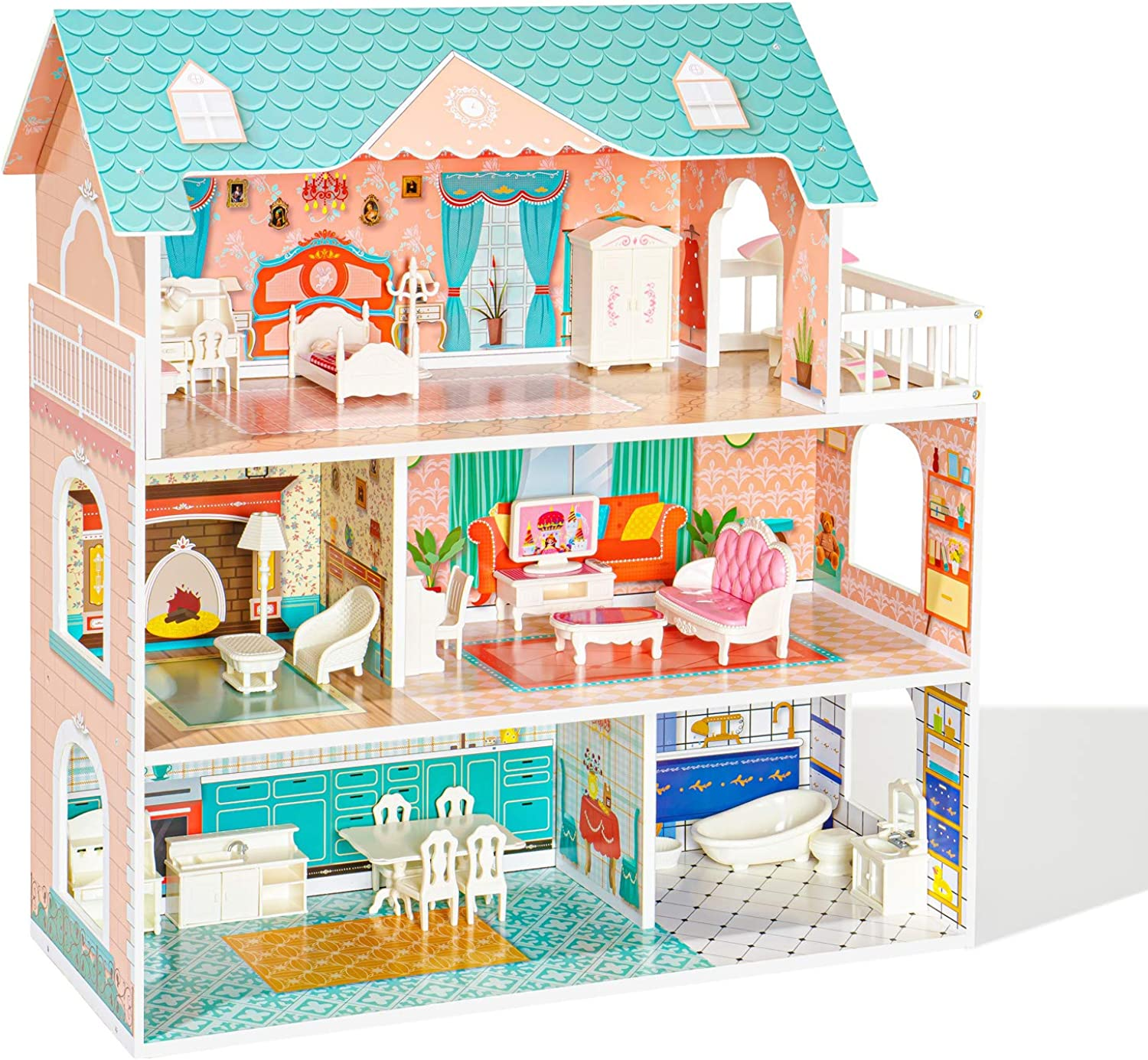 ROBUD Wooden Dollhouse for Kids Girls, Toy Gift for 3 4 5 6 Years Old, with Furniture Blue