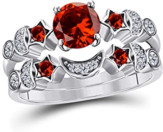 1.50 ct Round Cut CZ Red Garnet 14k White Gold Plated Moon and Star Wedding Engagement Bridal Set Rings for Her