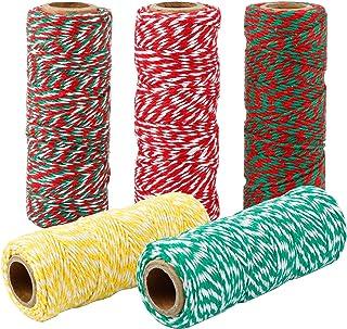 Maosifang 5 rollen kerst touw katoen string gift wrapping koorden bakker twines voor cadeau verpakking kerst decoratie ben...