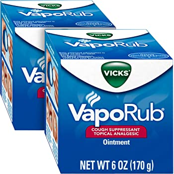 Vicks VapoRub Original Cough Suppressant, Topical Analgesic Ointment, 6 oz. (2 Pack) - Relief from Cough, Cold, Aches and Pain