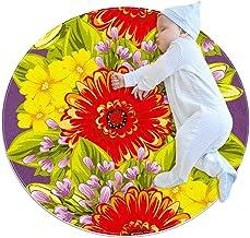 Ljusa blommor, rund matta för barn polyester filt matta mjuk pedagogisk tvättbar matta barnkammare tipi tält lekmatta