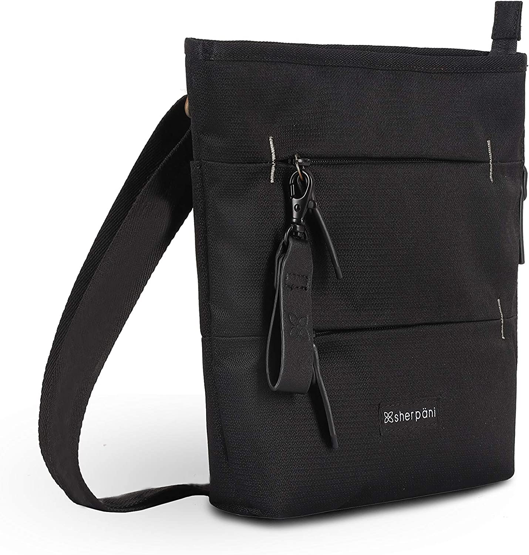 Sherpani Sadie, Nylon Crossbody Bag, Lightweight Shoulder Bag, Fashion Purse, Essential Messenger Bag, Daily Cross Body Bag, Medium Crossbody Purses for Women, RFID Protection (Raven)