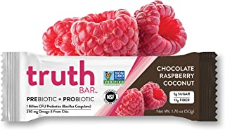 Truth Bar (Prebiotic + Probiotic) Chocolate Raspberry Coconut (12 Bars) Low Sugar Diet Support, Gluten Free, Vegan,High fiber, Kosher, Soy Free, Non-GMO Nutrition Snack Bar with Premium Dark Chocolate