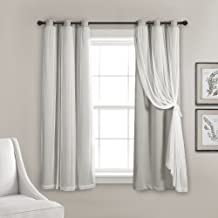 "Lush Decor Sheer Grommet Panel with Insulated Blackout Lining, Room Darkening Window Curtain Set (Pair), 63"" L, Light Gray"
