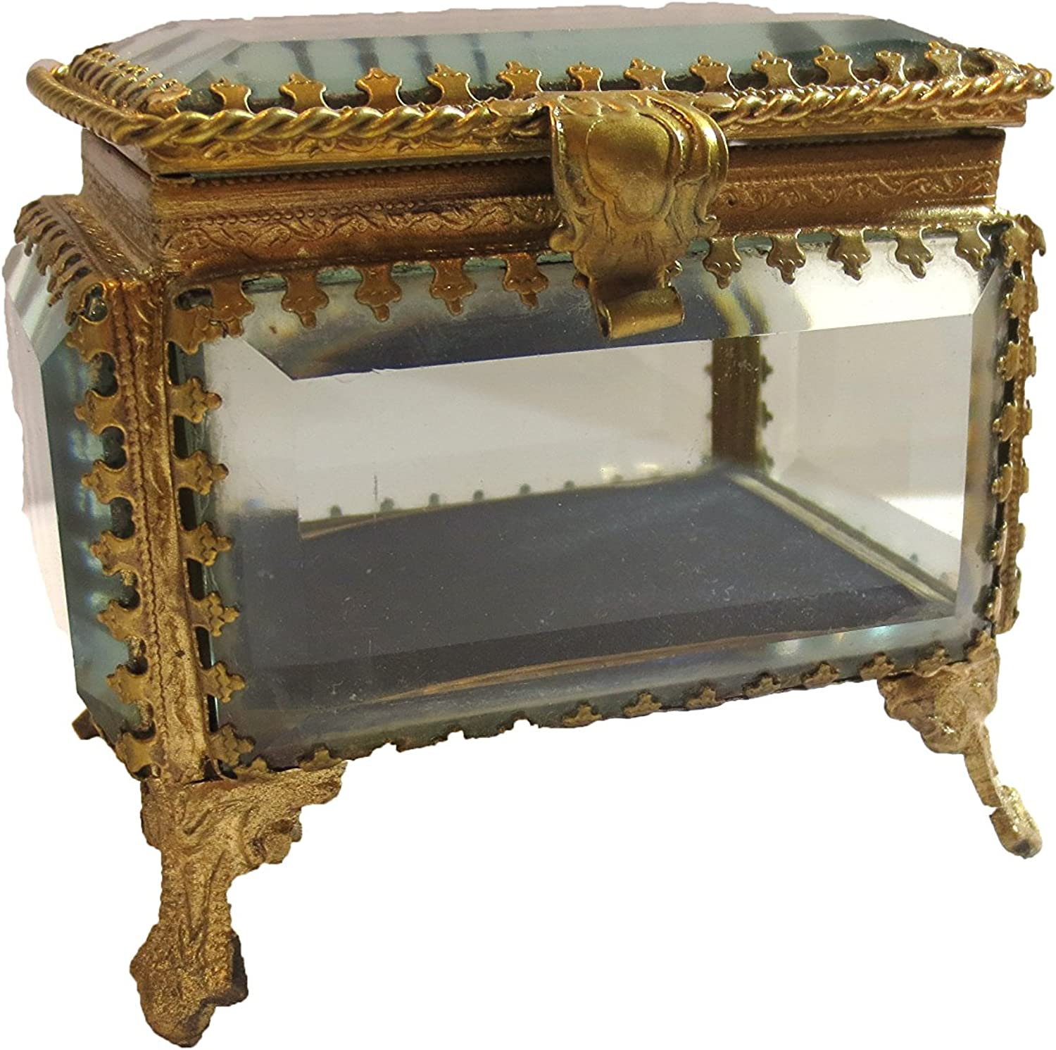 Two's Company Small Rectangle Beveled Glass & Brass Box