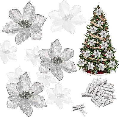24cm CLIP ON  WHITE POINSETTIA Frosty snow flock CHRISTMAS TREE FLOWER ORNAMENT