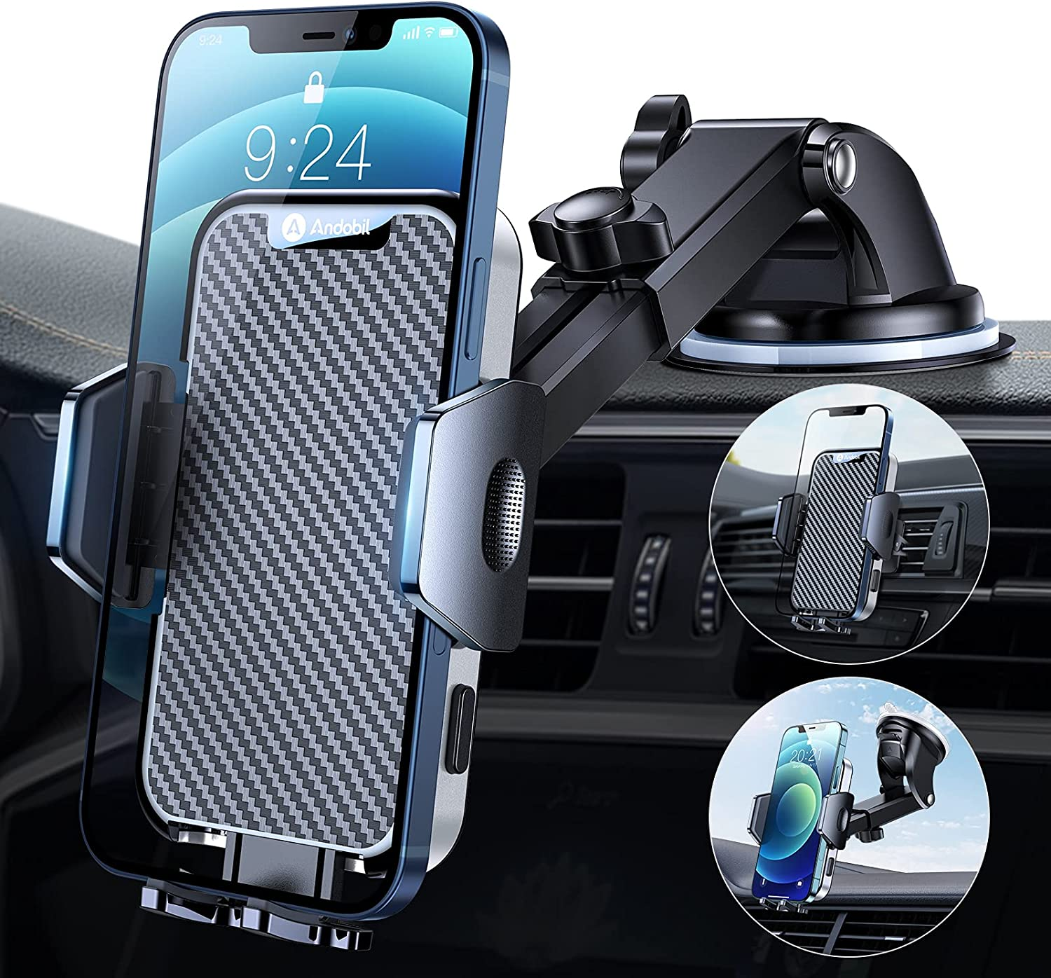andobil Cell Phone Holder for Car [Thick Case & Heavy Phone Friendly ] 3-in-1 Car Phone Holder Mount for Dashboard Air Vent Windshield Compatible with iPhone 12 Pro max 11 Samsung S21 All Phones