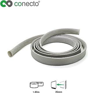 conecto CC50324 Universeller Polyester Kabelschlauch, selbst zusammenziehend, Ø 20mm, 1,80m, grau
