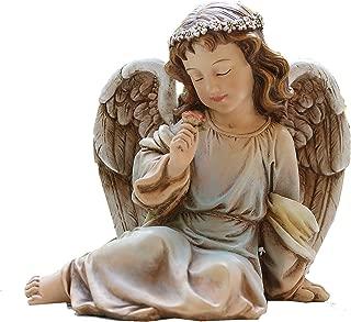 Napco 18415 Park Place Sitting Angel Figure Garden Statue, 7.5