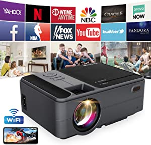 Mini WiFi Projector Android Bluetooth FHD 1080p Smart Wireless LED Portable Projector for Home Theater Outdoor Movie Projector 200 Inches Screen for Gaming, PS4, iPhone, Camping