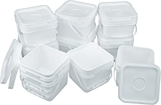 Square 68 mil Bucket Kit, Ten 2-Gallon Buckets with White Snap-on Lids