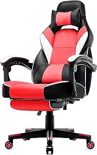 Intimate WM Heart Chaise de Bureau Gaming en Similicuir, Fauteuil Racing Inclinable, Siège Ergonomique Pivotant (Rouge)