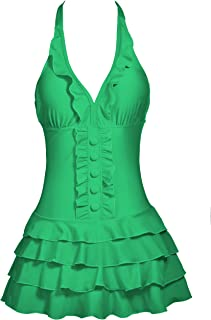 Women's Cover Up One Piece Swimsuits V-Neck Push Up Skirted Swimdress(FBA)