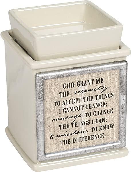 Elanze Designs Serenity Prayer Ceramic Powder Sand Interchangeable Photo Frame Candle Wax Oil Warmer