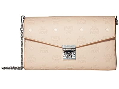 MCM Millie Monogrammed Leather Small Crossbody Medium (Bisque) Handbags