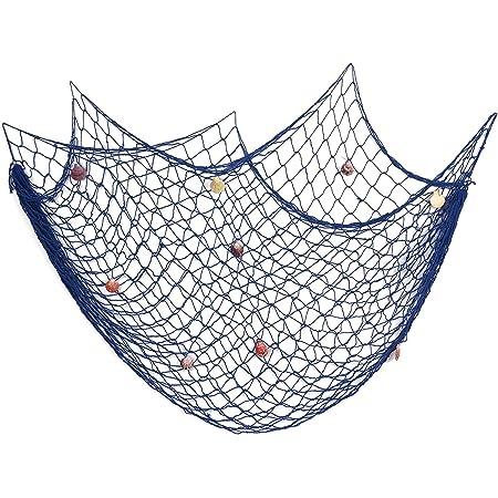 200 cm x 150 cm Filet de pêche avec coquilles Plage Thème Décor pour la Fête Maison Salon Chambre Style Méditerranéen Décor Décoration Murale (Bleu)