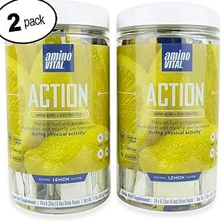Amino VITAL Action – Fermented Vegan BCAAs Amino Acid Powder + Electrolytes in Single Serve Packets   Keto Friendly Supplement with Glutamine & Arginine  Lemon   2 Canister Bundle