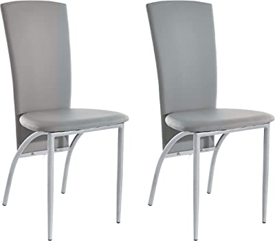 Set of 4 Dining Chairs Kitchen Dining Room Furniture - Metal Legs Easy-Care PU Faux Leather Upholstered Grey, 45 x 53 x 96 Centimeter